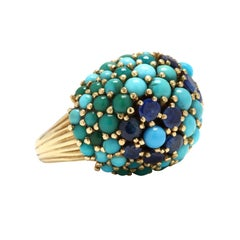 18 Karat Gold, Turquoise and Sapphire Bombé Ring, circa 1960