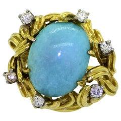 18 Karat Gold Turquoise Cabochon VS Diamond Cocktail Ring