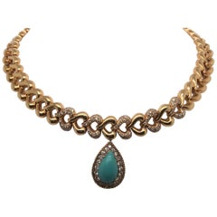 18 Karat Gold Turquoise Diamond Heart Motif Collar Necklace, French