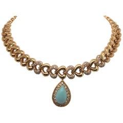 18 Karat Gold Turquoise Diamond Heart Motif Collar Necklace, French