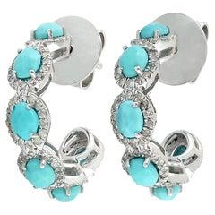 14 Karat Gold Turquoise Diamond Hoop Earrings