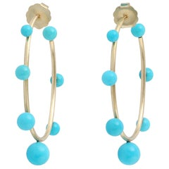 18 Karat Gold Turquoise Hoop Earrings