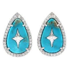 18 Karat Gold Turquoise Pear Star Diamond Stud Earrings