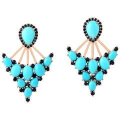 18 Karat Gold Turquoise Sapphire Ear Jacket Earrings
