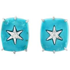 18 Karat Gold Turquoise Square Star Diamond Stud Earrings