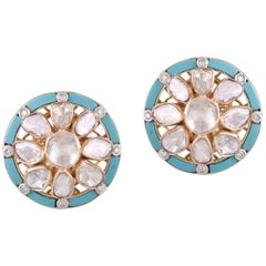 18 Karat Gold Turquoise Uncut White Diamond Stud Earring