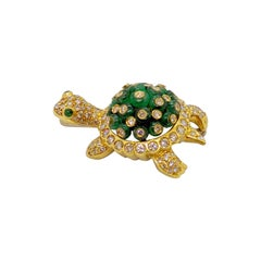 18 Karat Gold Turtle Brooch with 6.33 Carat Beaded Emeralds & 2.92 Ct. Diamonds