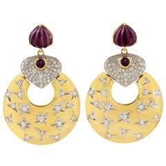18 Karat Gold Twinkling Star Carved Amethyst Diamond Earrings