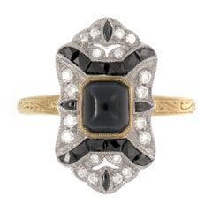 18 Karat Gold Two-Tone Art Deco Inspired Dark Sapphire, Onyx and Diamond Ring