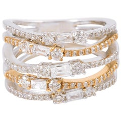 18 Karat Gold Two-Tone Diamond Ring