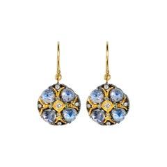 18 Karat Gold Two Tone Moonstone Poppy Earrings Suneera