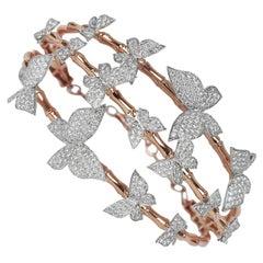 18 Karat Gold Two Tone Rose Gold White Gold Diamonds Pave Butterfly Fashion
