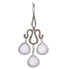 18 Karat Gold Two-Tone Rose Quartz and 1.7 Carat Diamond Chandelier Pendant