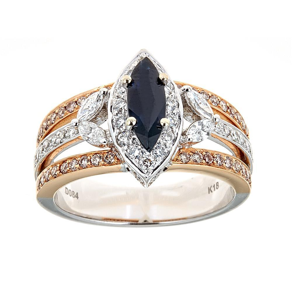 4 ctw Marquise Cut Blue Sapphire and Diamond Two -Tone 18k Engagement Ring