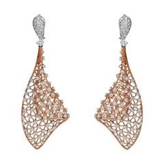 18 Karat Gold Two Tone White Gold Rose Gold Dangle Diamond Fashion Earring