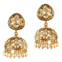 Polki Diamond Pearl 18k Yellow Gold Handmade Earrings