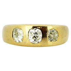 18 Karat Gold Unisex Three-Stone Diamond Ring, 1930s