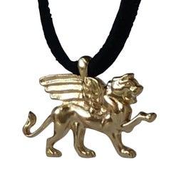 18 Karat Gold Vermeil Winged Lion Griffin Pendant Necklace for Men