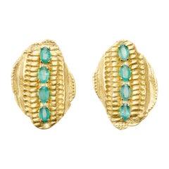 18 Karat Gold Vertebrae Earrings with 2.75 Carat Brazilian Paraiba Tourmalines