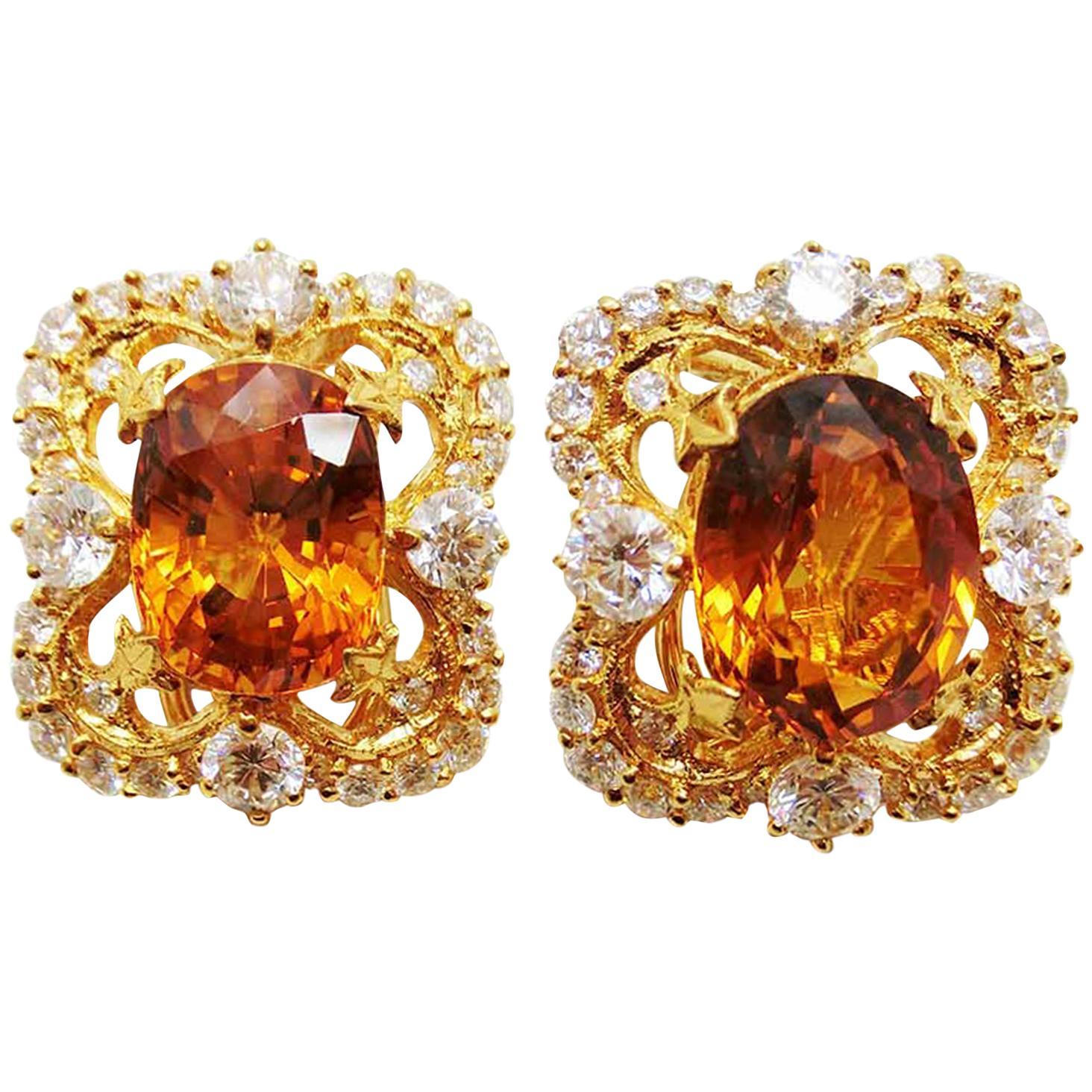 18 Karat Gold Victorian Yellow Sapphire and Diamond Clip-On Earrings