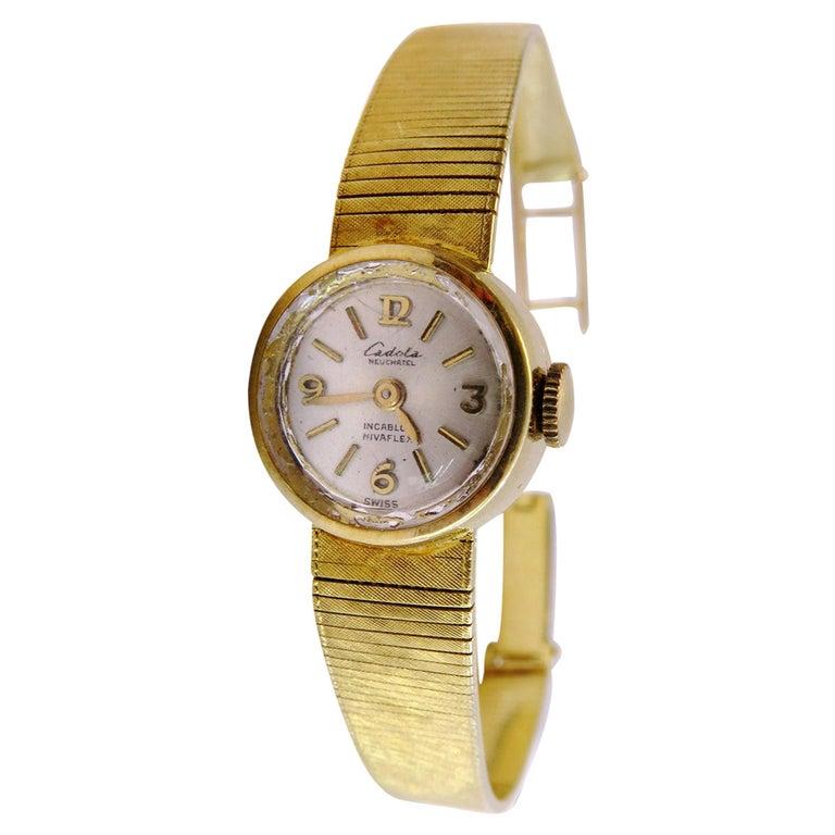 18 Karat Gold Vintage Cadola Neuchatel Watch Swiss For Sale