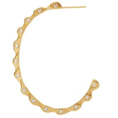 18 Karat Gold Wave Hoop Earrings with Diamonds