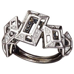 18 Karat Gold White and Black Diamonds Black Spinel Ring Aenea Jewellery