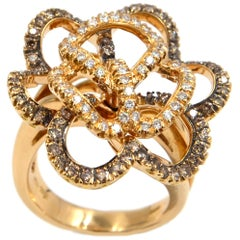 18 Karat Gold White and Brown Diamonds Rose Flower  Garavelli  Cocktail Ring