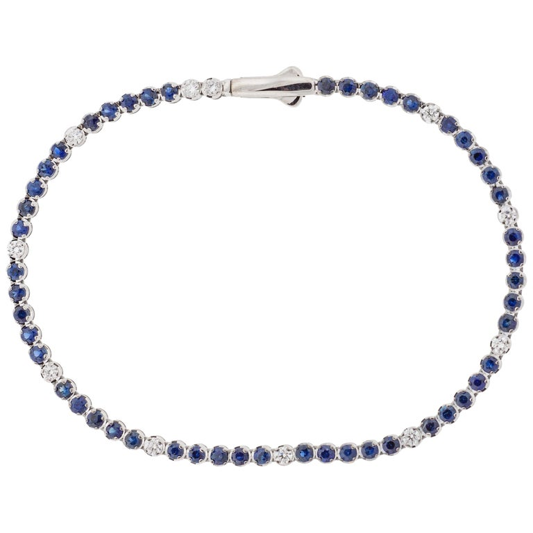 18 Karat Gold, White Diamond and Blue Sapphires Tennis Bracelet, Alessa Jewelry For Sale