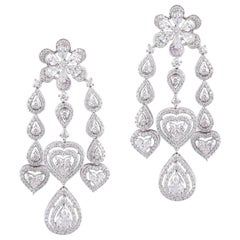 18 Karat Gold White Diamond Chandelier Earrings