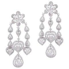 18 Karat Gold White Diamond Chandelier Earrings