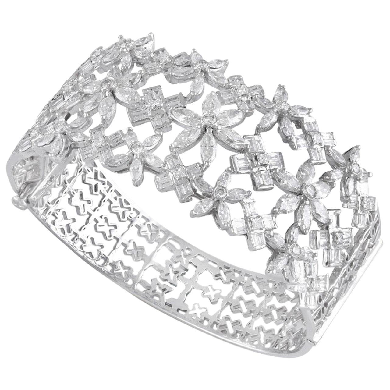 18 Karat Gold White Diamond Cuff Bracelet