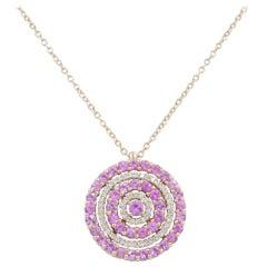 18 Karat Gold White Diamonds and Pink Sapphires Garavelli Pendant with Chain