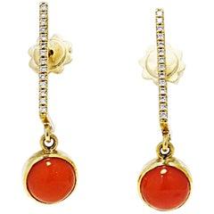 18 Karat Gold White Diamonds Coral Dangle Earrings