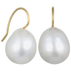 18 Karat Gold White South Sea Cultured Pearl Drop Earrings