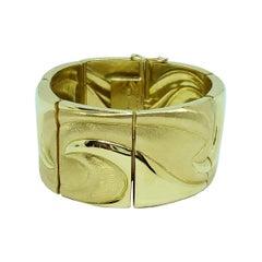 18 Karat Gold Wide Bracelet