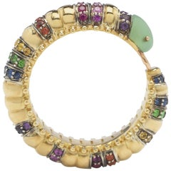 18 Karat Gold with Amethyst and Multicolored Sapphires Millipede Eternity Ring