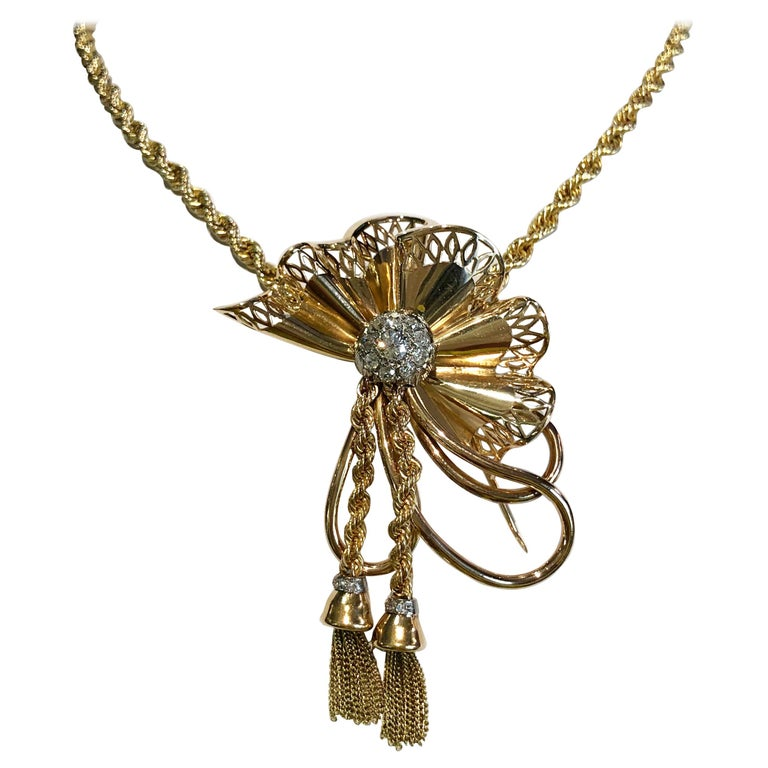 18 Karat Gold with Diamonds Necklace For Sale