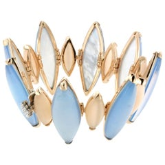 18 Karat Gold with Mother of Pearl Blue Topaz and White Diamond Bracelet