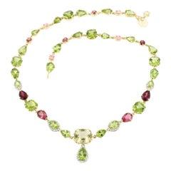 18 Karat Gold with Peridot Tourmaline Quartz White Diamonds Bracelet Necklace