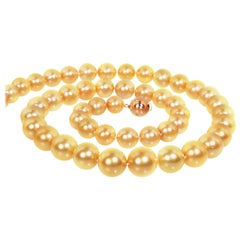 Golden South Sea Pearl Necklace with 18K Gold Clasp with Diamonds