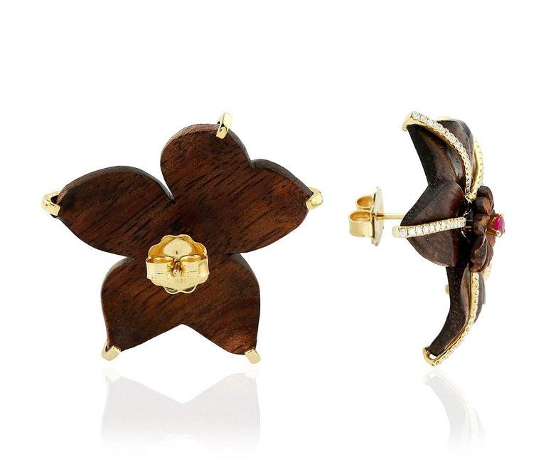 Modern 18 Karat Gold Wood Ruby Diamond Earrings For Sale