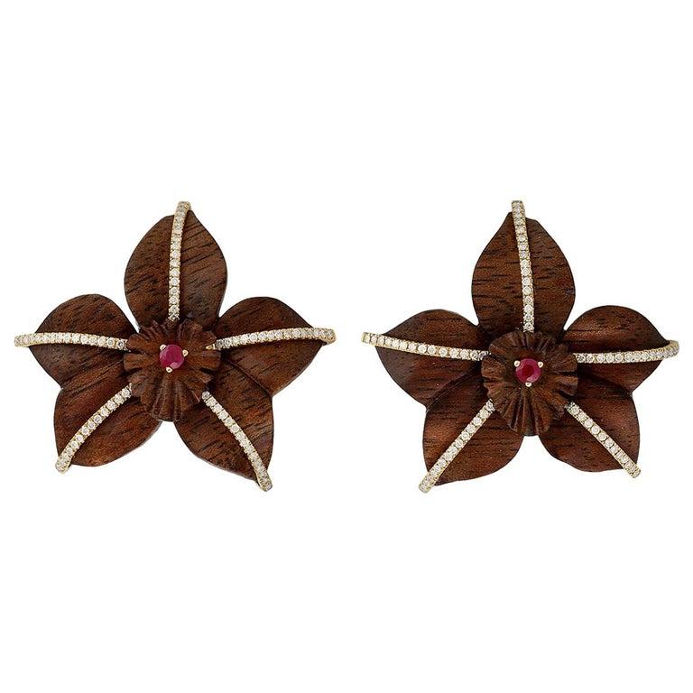 18 Karat Gold Wood Ruby Diamond Earrings For Sale