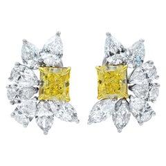 18 Karat Gold Yellow Diamonds and White Diamonds Huggies Earrings 9.08 Carat