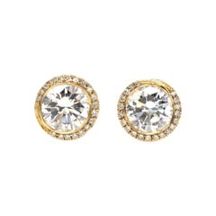 18 Karat Gold Yellow Hand Engraved Diamond Stud Earrings