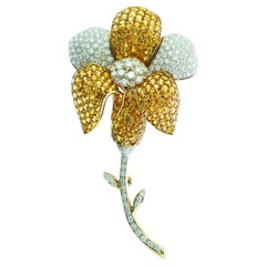 AIG 18 Certified Karat Gold Yellow Sapphire Diamond Pave Flower Pin Clip Brooch