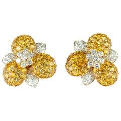 18 Karat Gold Yellow Sapphire Diamond Flower Romantic Stud Lever Back Earrings