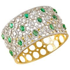 18 Karat Gold, Zambian Emerald and Diamond Cuff