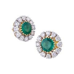 4.96 Carat Zambian Emerald Diamond 18k Gold Stud Earrings
