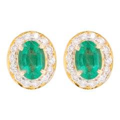 18 Karat Gold Zambian Oval Emerald Diamond Stud Earring